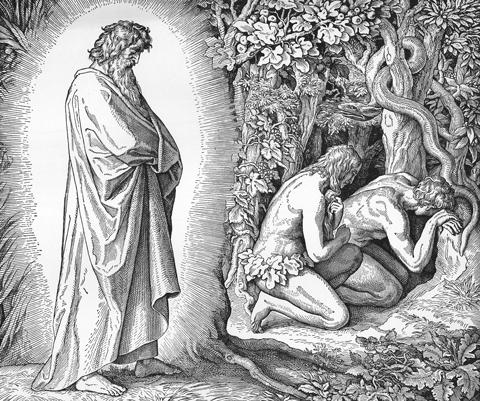 Bilder der Bibel - Adam und Eva verbergen sich vor Gottes Angesicht